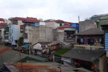 Shanty accommodation - view from bridge